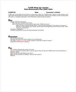 counseling treatment plan template dap notes