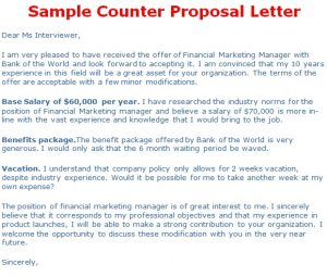 counter offer letter sample counter proposal letter
