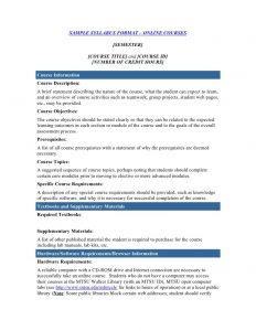 course syllabus template course syllabus template
