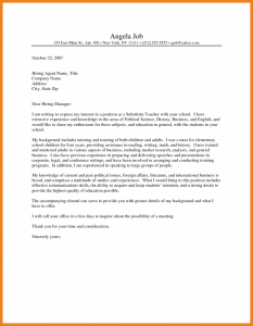 cover letter for substitute teacher teacher cover letters cover letter for teacher resume elementary school teacher cover letter with experience professional