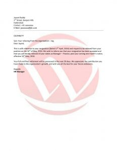 cover letter format template relieving letter format
