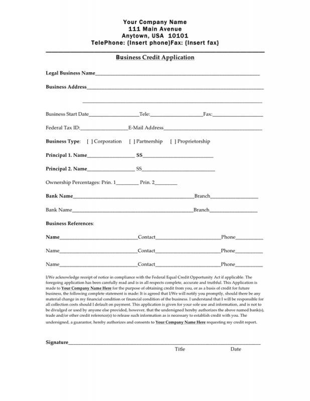 credit application form template business