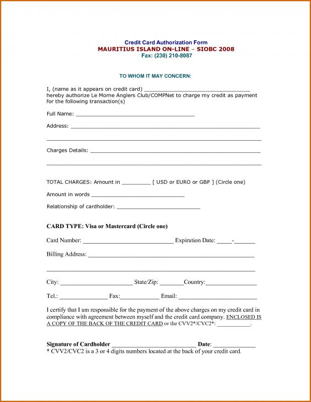 credit card authorization form pdf