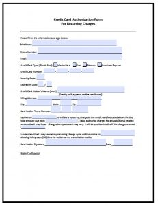 credit card authorization form pdf recurring credit card authorization form