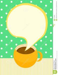credit card design template talking coffee cup invitation card chocolate tea steam bubble speech shape