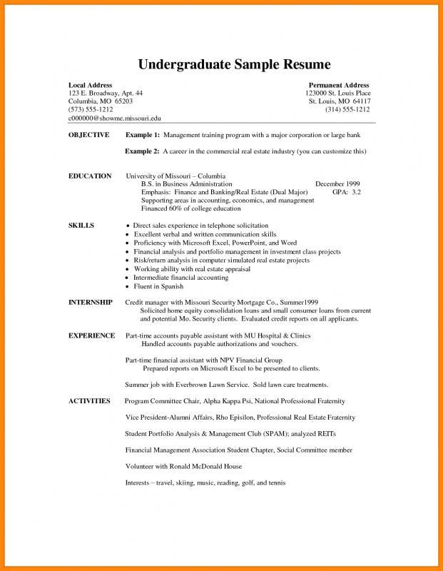 curriculum vitae template student