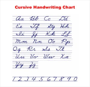 cursive writing template cursive writing chart example download