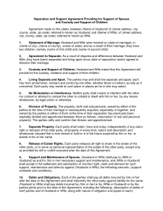 custody agreement template child custody agreement letter sample