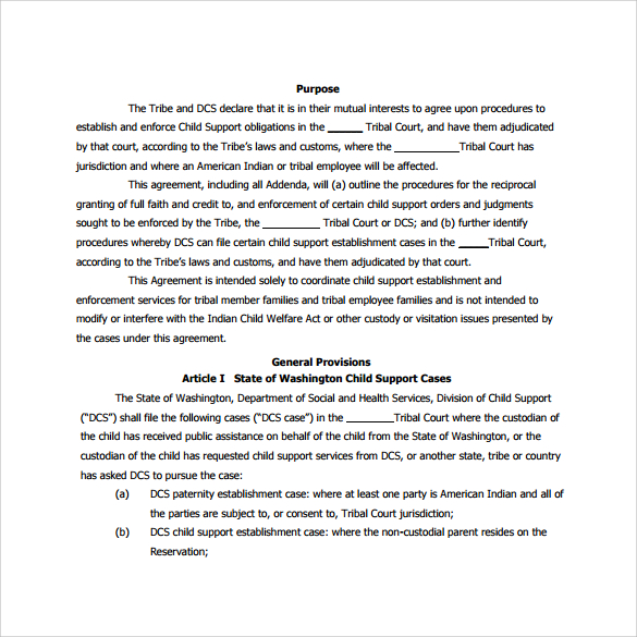 custody agreement templates