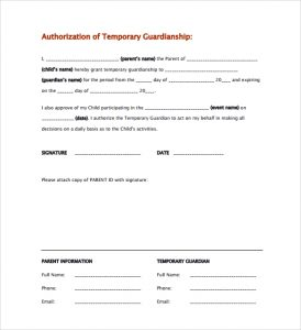 custody agreement templates temporary guardianship authorization form