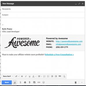 custom e mail signatures screenshot