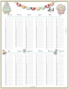 cute daily planner birthday list x