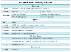 daily agenda template pre production meeting