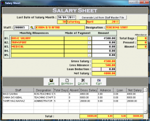 daily attendance sheet salary sheet
