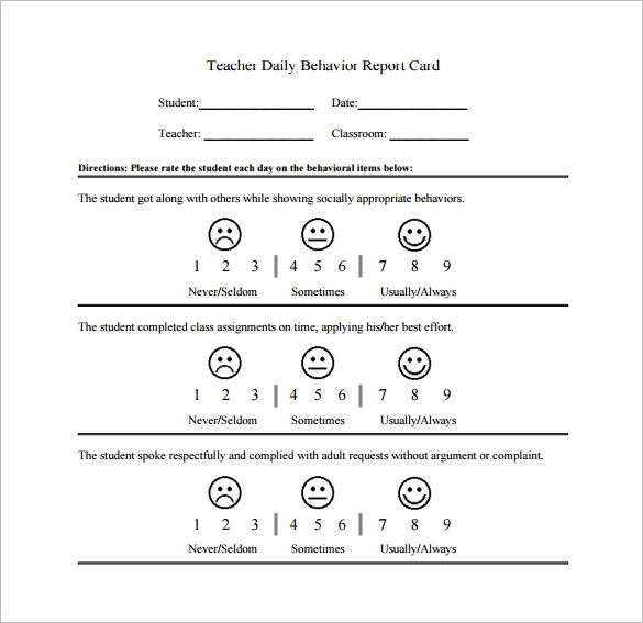 daily behavior chart template