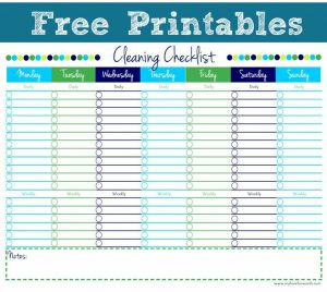 daily checklist template free printable house cleaning checklist