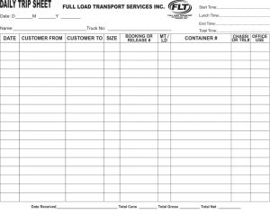 daily log sheet flt trip sheets