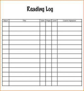 daily logs template reading log pdf daily reading log template