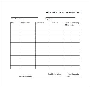 travel expense log template
