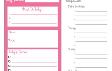 daily meal plan template daily schedule