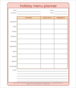 daily meal plan template holiday meal planning template