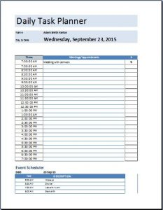daily planner template excel others template program templates ms excel daily task planner template