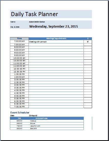 Daily Planner Template Excel | Template Business