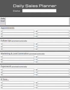 daily planner templates daily sales planner template