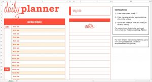 Daily Schedule Planner Template Business - Daily timeline excel template