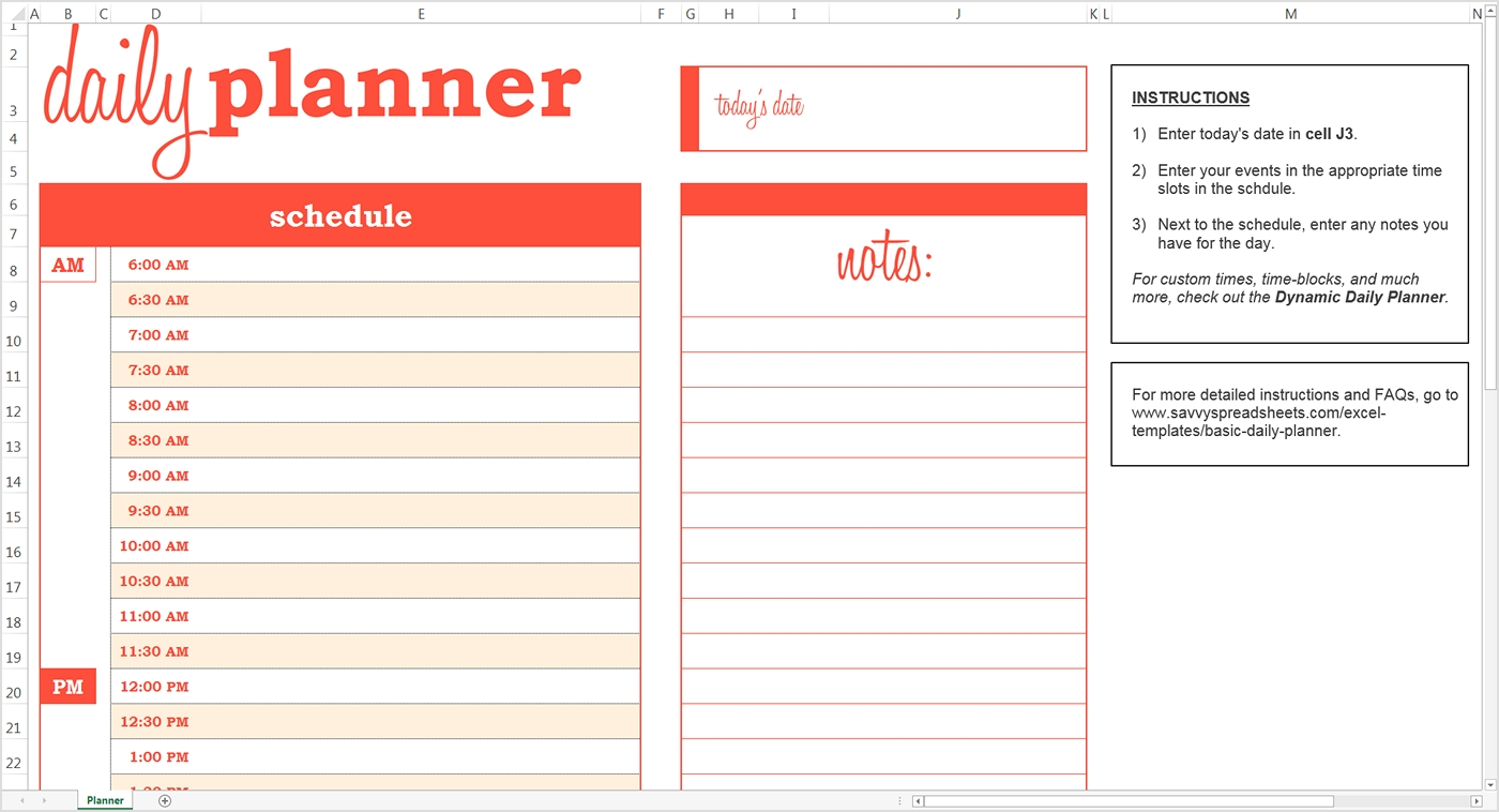 daily schedule planner template business
