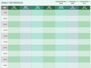 daily schedule template daily schedule template