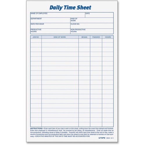 daily time sheet