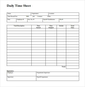 daily time sheet daily timesheet template