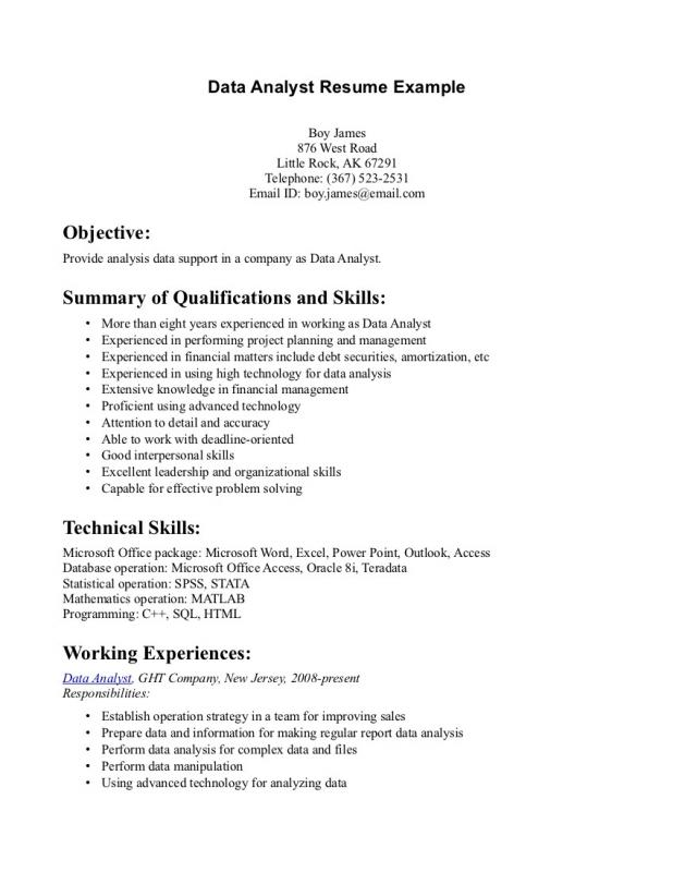 Data Analyst Resume  Template Business