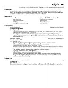 data entry resume data entry administration and office support