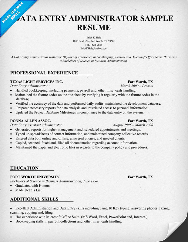 data entry resume - Data Entry Resume Sample Skills