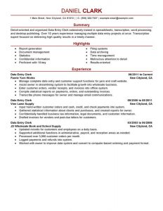 data entry resume data entry clerk administration and office support