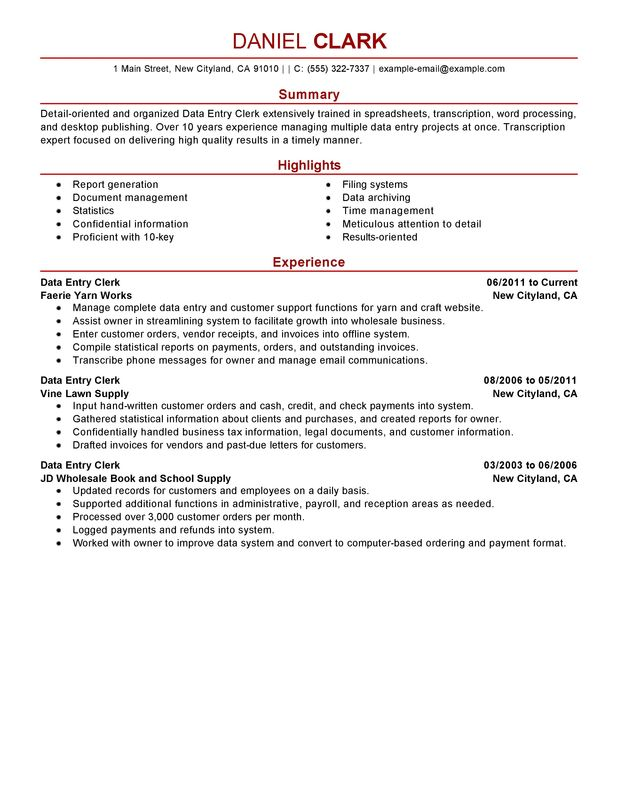Data Entry Resume Template Business