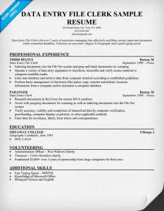 data entry resume data entry file clerk sample resume
