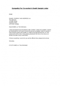 death announcement template sympathy for co worker s death sample letter