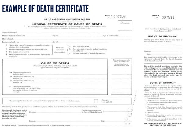 Death certificate template template business death certificate template yadclub Choice Image