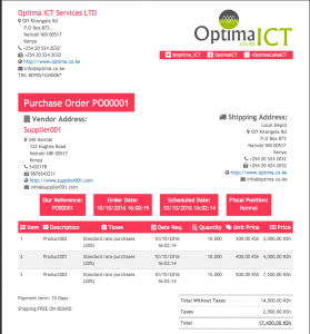delivery order template po