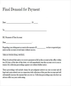 demand for payment letter legal final demand payment letter