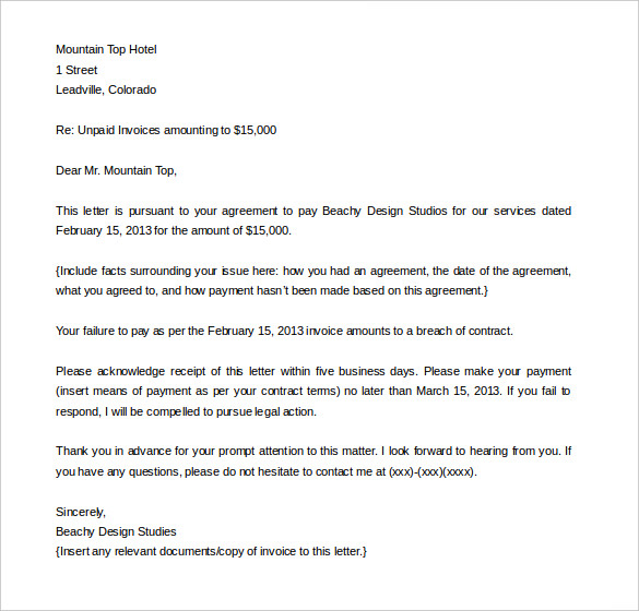 Demand Letter Template Template Business