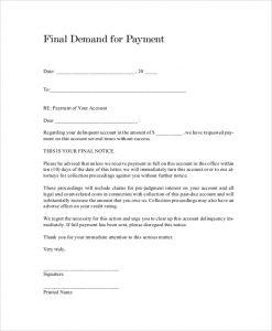 demand letter template payment demand letter