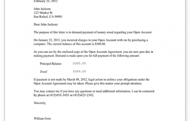 demand letter template sample demand for money owed form template