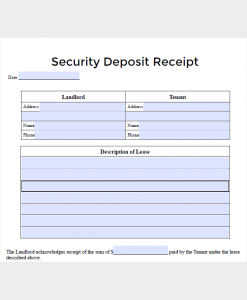 deposit receipt template lease security deposit receipt