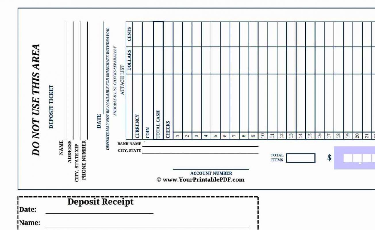 deposit slip templates template business. Black Bedroom Furniture Sets. Home Design Ideas
