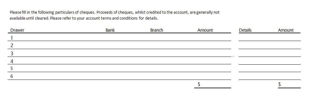 deposit slip templates