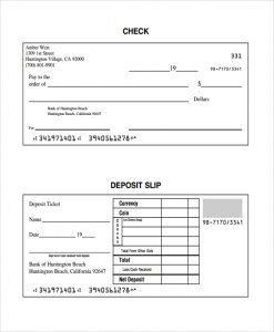 deposit slips template check and deposit slip